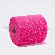 Hot Pink Sequin Heart Tulle Roll